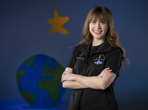 A photo provided by St. Jude Children's Research Hospital shows Hayley Arceneaux at the hospital in Memphis, Tenn. It announced on Monday that Arceneaux, a former patient and current employee, will be one of four crew members on the first all-civilian space flight this year.