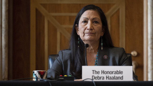 Rep. Deb Haaland, D-N.M., during her Senate hearing Tuesday to be Interior Secretary. If confirmed, she would be the first Native American to hold the post.