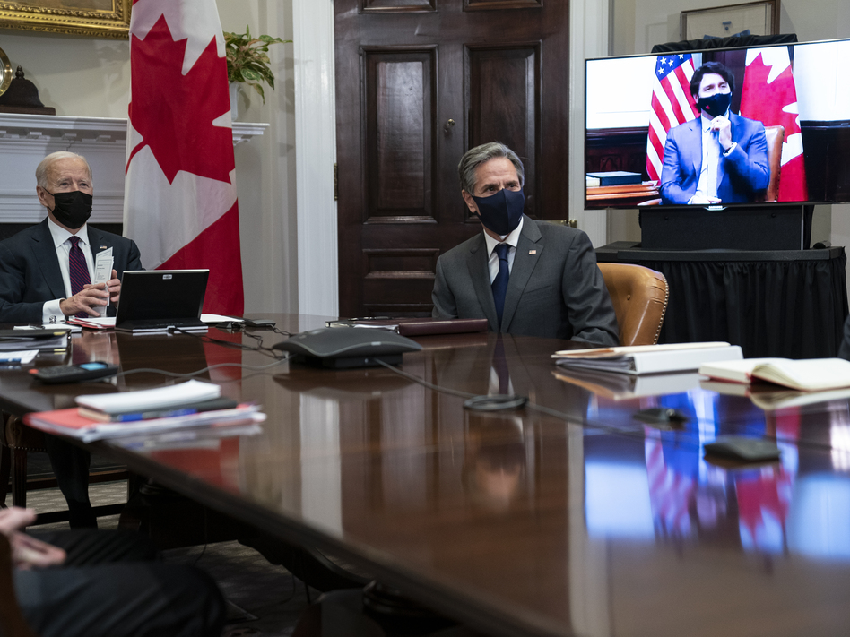 President Biden and his team, including Secretary of State Antony Blinken, met virtually with Canadian Prime Minister Justin Trudeau in the Roosevelt Room of the White House.