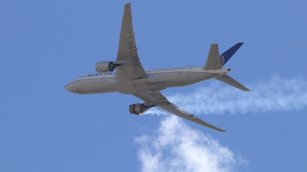 """United Airlines Flight 328 approaching Denver International Airport, after experiencing """"a right-engine failure"""" shortly after takeoff from Denver. The FAA issued an order on Tuesday grounding all aircraft powered by the same Pratt & Whitney 4000-112 engine until they"""