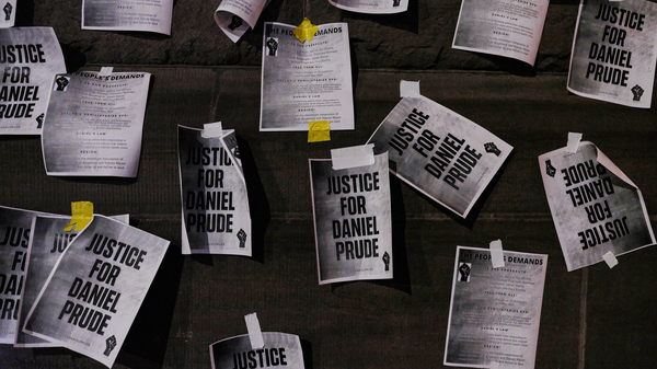 """Signs calling for """"Justice for Daniel Prude"""" were plastered to the exterior walls of City Hall in Rochester, New York on Sept. 8, 2020, the seventh consecutive night of protests following the release of bodycam footage showing the March arrest that preceded his death."""