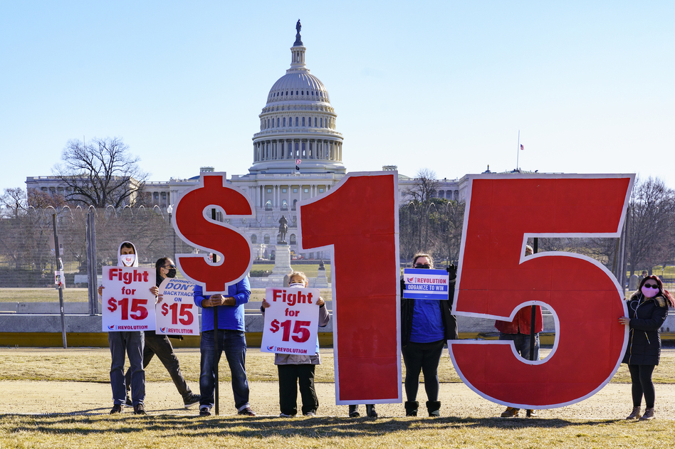 Activists are likely to be disappointed that the Senate parliamentarian ruled against the inclusion of a $15 minimum wage in the giant COVID relief bill. But the provision's omission likely means the measure will gain more support in the Senate. (J. Scott Applewhite/AP)