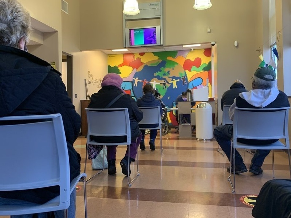 Patients at a community health center in Nashville wait for their vaccine appointment. The Biden administration has announced that federally-funded community health centers around the country will start getting direct shipments of the vaccine. (Blake Farmer/WPLN News)
