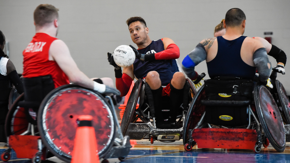 Joe Delagrave (c) is co-captain of the USA Wheelchair Rugby team. The squad was practicing at a recent training camp in Birmingham, Ala. at the U.S. Olympic and Paralympic Training site. (Lexi Branta Coon/Courtesy USA Wheelchair Rugby)
