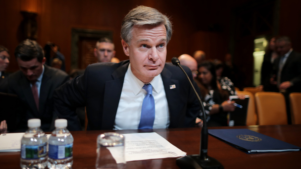FBI Director Christopher Wray, pictured in May 2019, is testifying before the Senate Judiciary Committee on Tuesday.