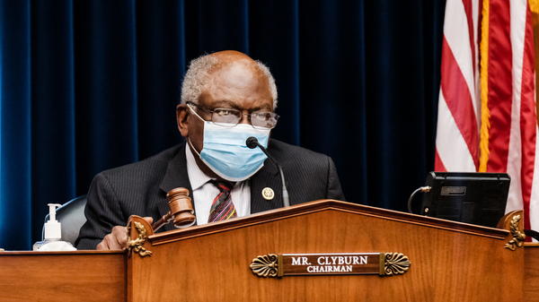 Rep. James Clyburn, D-SC, chairman of the House Select Subcommittee on the Coronavirus Crisis, listens at a hearing on Oct. 2, 2020, in Washington, D.C.