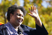 Stacey Abrams speaks at a rally in Atlanta for then-Democratic presidential candidate Joe Biden on Nov. 2, 2020.