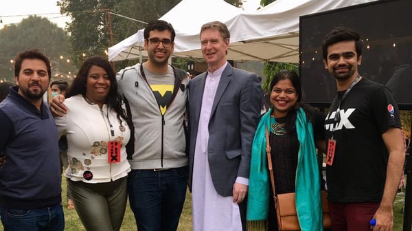 U.S. Consulate Lahore staff and participants including Maryum Saifee, second from right, in the ATX+PAK entrepreneurship program at the Mix festival in Lahore, Pakistan, an event inspired by Austin