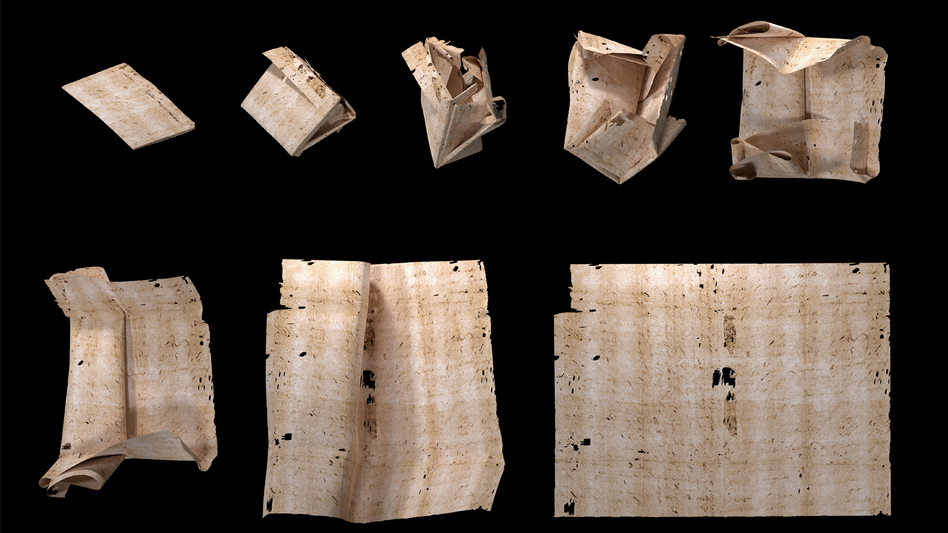 "A computer-generated unfolding sequence of sealed letter DB-1538. New research describes how ""virtual unfolding"" was used to read the contents of sealed letter packets from 17th century Europe without physically opening them. (Unlocking History Research Group)"