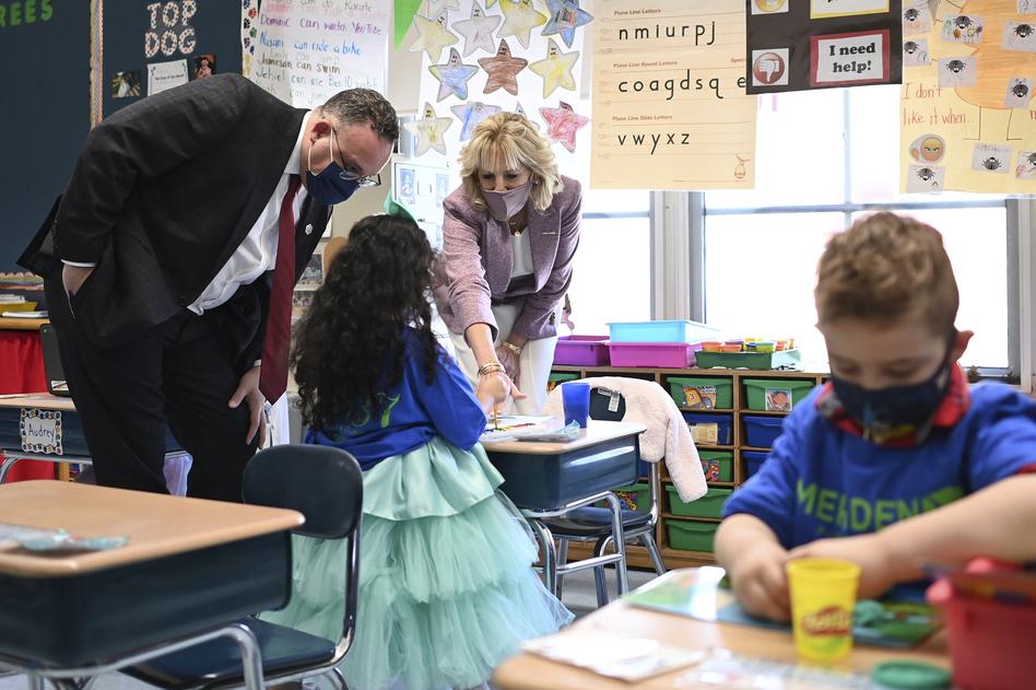 First lady Jill Biden and Education Secretary Miguel Cardona tour Benjamin Franklin Elementary School in Meriden, Conn. (Mandel Ngan/AP)