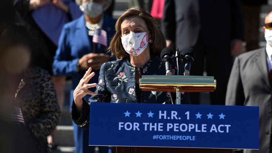 House Speaker Nancy Pelosi, D-Calif., speaks at an event for the For the People Act on the steps of the U.S. Capitol on Wednesday. (Eric Baradat/AFP via Getty Images)