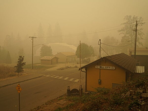 Smoke blankets Mill City, Ore., which was evacuated for days last fall following the nearby Beachie Creek Fire.