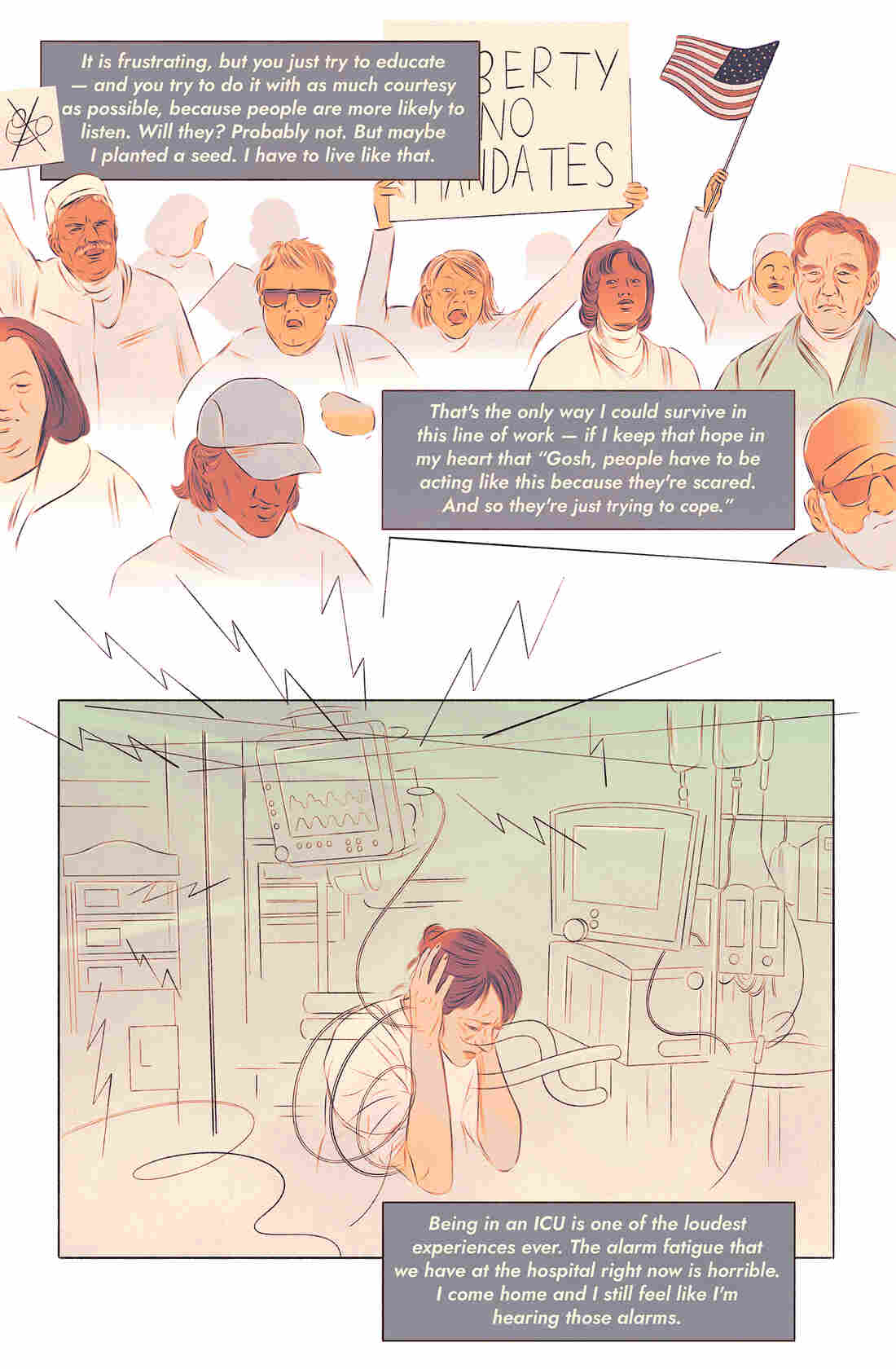 Agnes Boisvert, an ICU nurse at St. Luke's hospital in downtown Boise, Idaho, spends every day trying to navigate between two worlds. One is a swirl of beeping monitors, masked emotion and death; the other, she says, seems oblivious to the horrors occurring every hour of every day. Illustrated by Isabel Seliger.