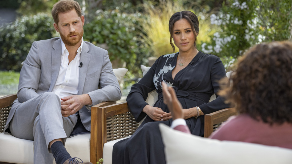 Prince Harry and Meghan, the Duchess of Sussex, sat for a long talk with Oprah Winfrey. (Joe Pugliese/CBS)