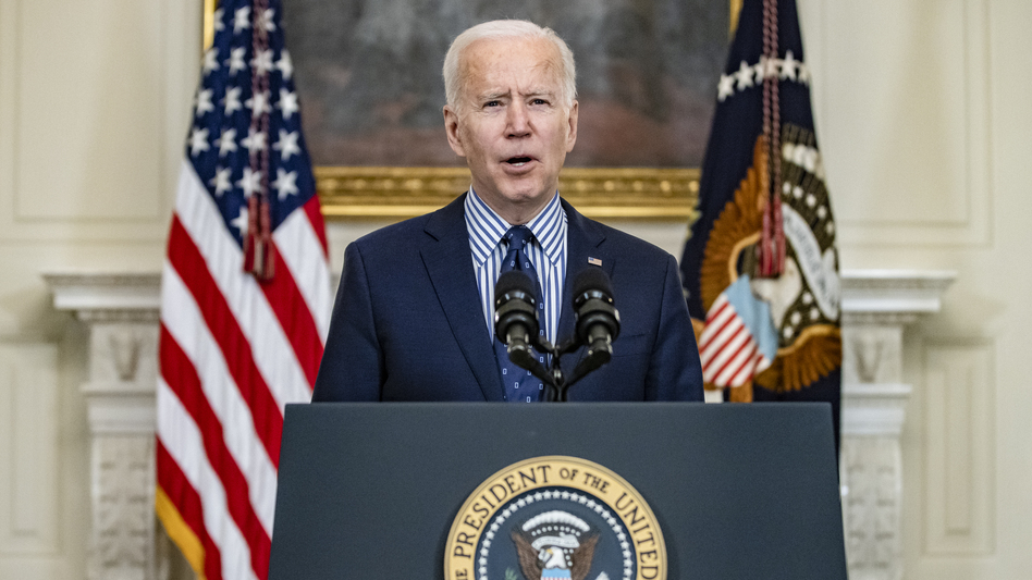 President Joe Biden speaks from the State Dining Room following the passage of the American Rescue Plan in the U.S. Senate at the White House on March 6, 2021. (Samuel Corum/Getty Images)