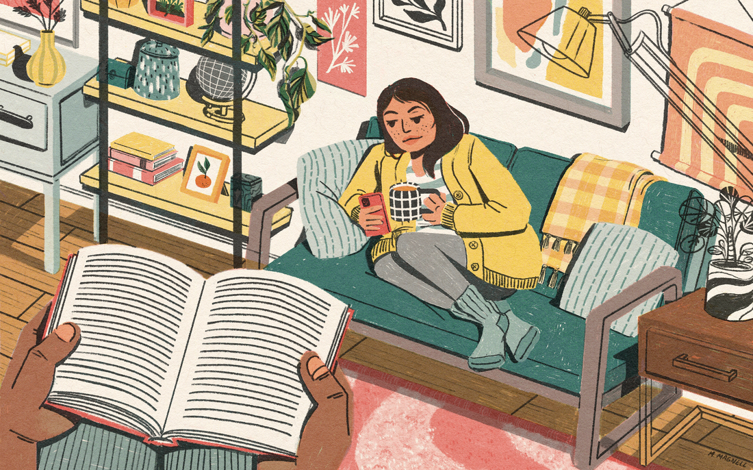 A woman curls up on a teal couch, holding a mug and looking at her phone. Behind her is a wall full of art. She is surrounded by plants, cozy furniture and knickknacks. Across the room in the foreground, a pair of hands holds a book.