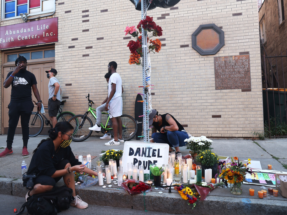 A memorial, pictured in Sept. 2020, commemorated the site where Daniel Prude was arrested in Rochester, N.Y. Prude died of asphyxiation after being restrained by police in March, and his family has filed a wrongful death lawsuit nearly a year later. (Michael M. Santiago/Getty Images)
