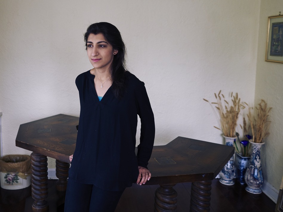 Lina Khan, here at her home in Larchmont, N.Y., in 2017, has been nominated to the Federal Trade Commission. (An Rong Xu/The Washington Post via Getty Images)