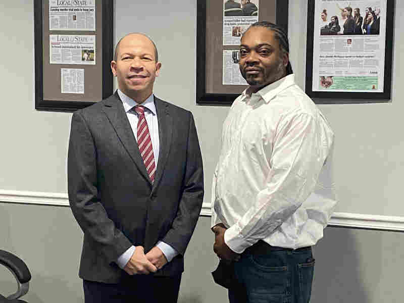 """Herbert Alford, right, and his lawyer Jamie White, left, say Hertz """"viciously disregarded"""" multiple court orders to produce a receipt that could have spared the 47-year-old nearly five years in prison."""
