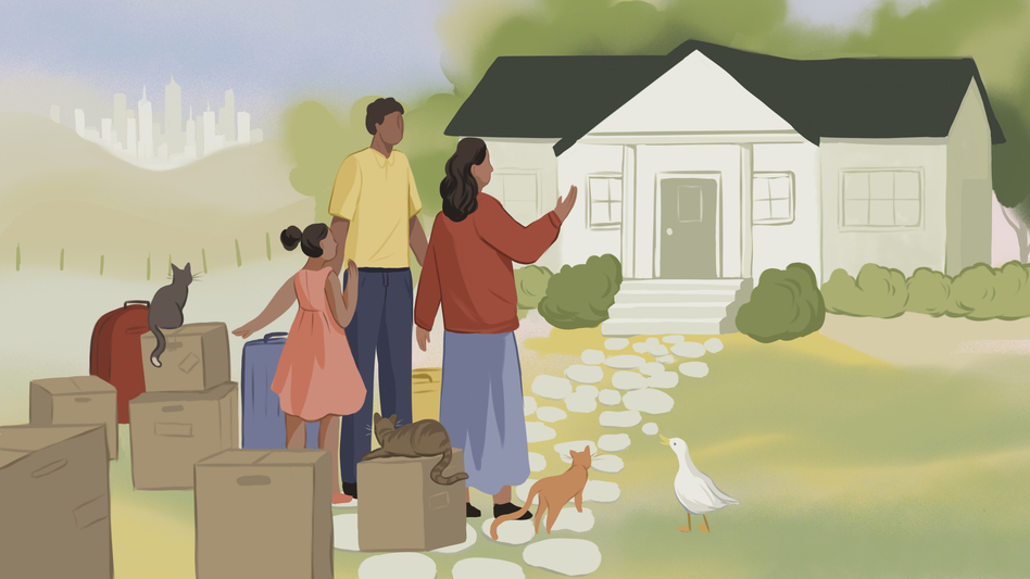 2020 made moving a reality for millions of Americans. Some moved to be near family, others chose to pursue their pre-pandemic pipe dreams and move to distant locations in pursuit of a better lifestyle and a cheaper cost of living. (Nicole Xu for NPR)