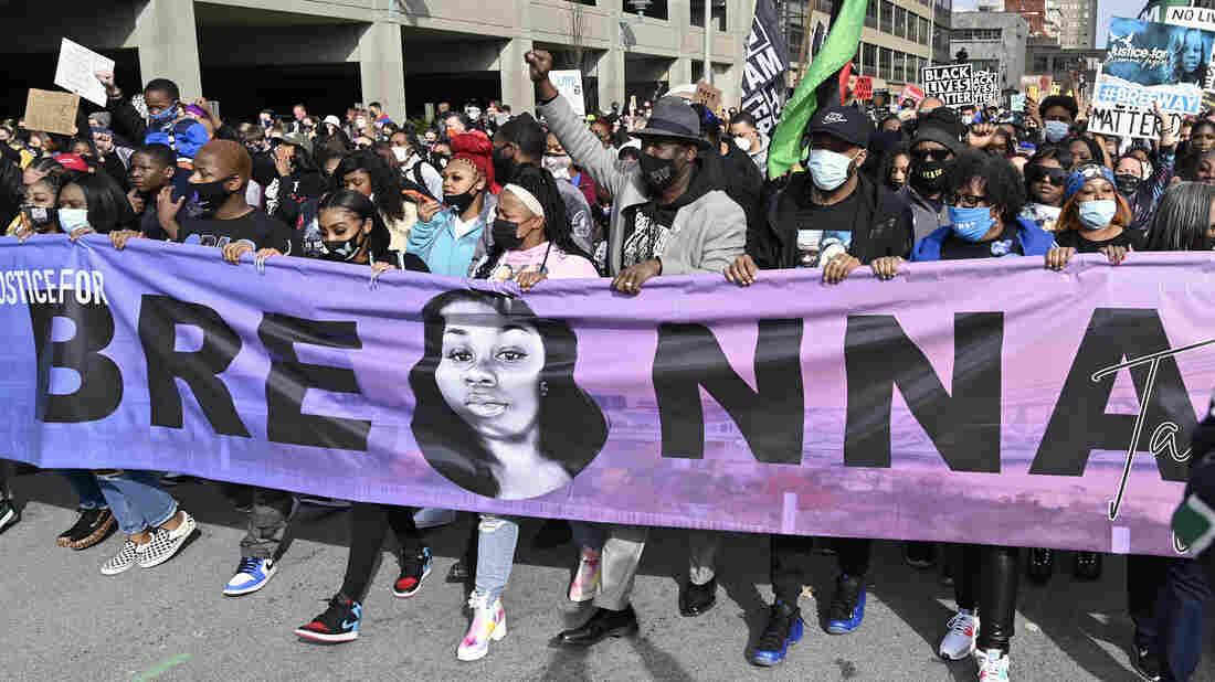 Demonstrators rally across Portland on anniversary of Breonna Taylor shooting