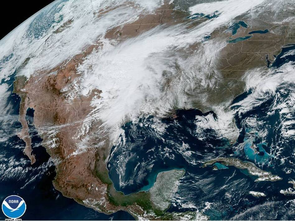 A U.S. satellite captures cloud cover over North America on Monday. The National Oceanic and Atmospheric Administration announced it has upgraded its weather forecasting model to use more satellite weather data. (GOES-East CONUS/NOAA/NASA)