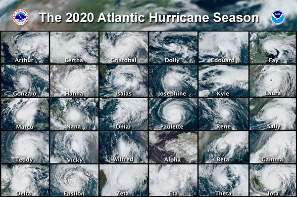 This combination of satellite images provided by the National Hurricane Center shows the 30 named storms that developed during the 2020 Atlantic hurricane season.