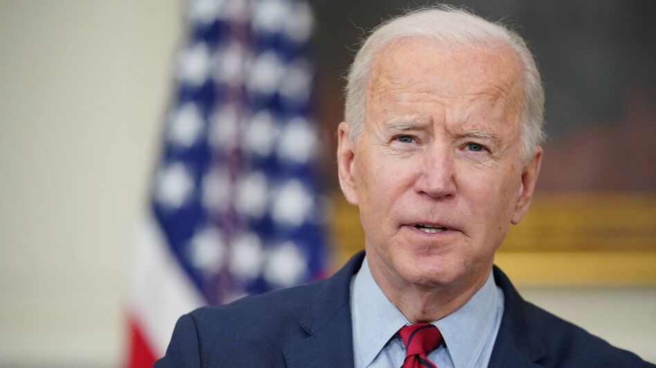 President Biden speaks about the Colorado shootings in the State Dining Room of the White House on Tuesday. (Mandel Ngan/AFP via Getty Images)