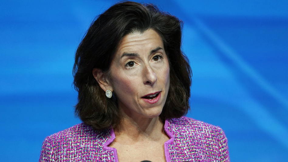 """Secretary of Commerce Gina Raimondo says the U.S. is clear """"clear-eyed on the magnitude of the threat that China poses."""" (Susan Walsh/AP)"""