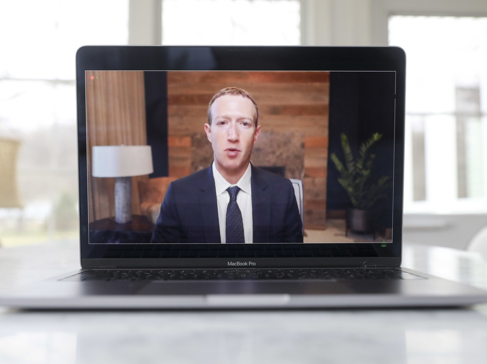 Mark Zuckerberg, chief executive officer of Facebook Inc., speaks virtually during a House Energy and Commerce Subcommittees hearing. (Daniel Acker/Bloomberg via Getty Images)