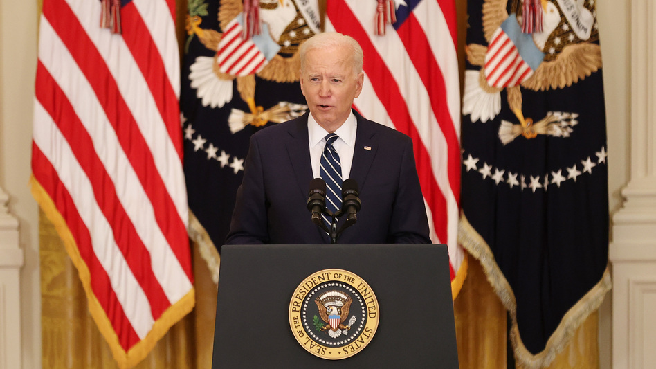 President Biden gives his first news conference of his presidency Thursday at the White House. (Chip Somodevilla/Getty Images)