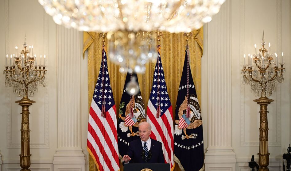President Biden speaks during his first press briefing in the East Room of the White House on Thursday. (Jim Watson/AFP via Getty Images)