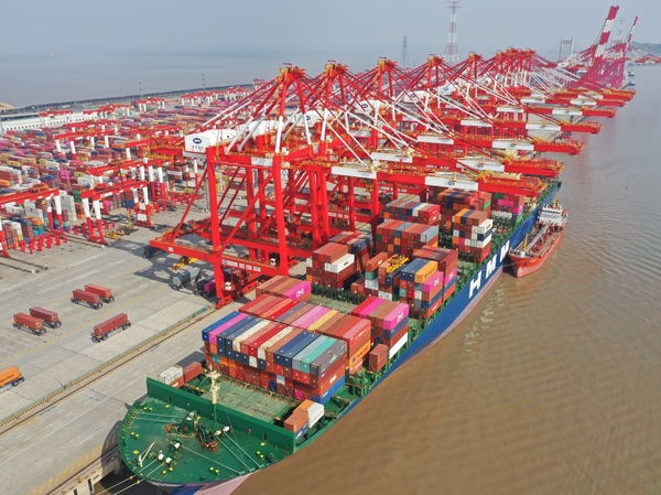 An aerial view of Yangshan Port in Shanghai, China, in February. A prolonged shutdown of the Suez Canal would disrupt supply chains across the globe.