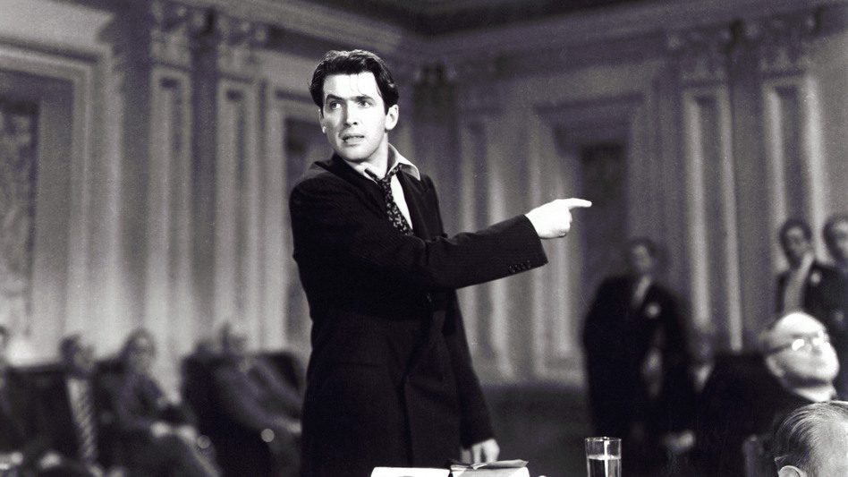 Jimmy Stewart's 1939 performance in <em>Mr. Smith Goes To Washington</em> helped form the popular perception of a Senate filibuster, with a lawmaker talking for hours on end. It hasn't been like that for decades, but President Biden supports returning to that style. (Columbia/Kobal/Shutterstock)