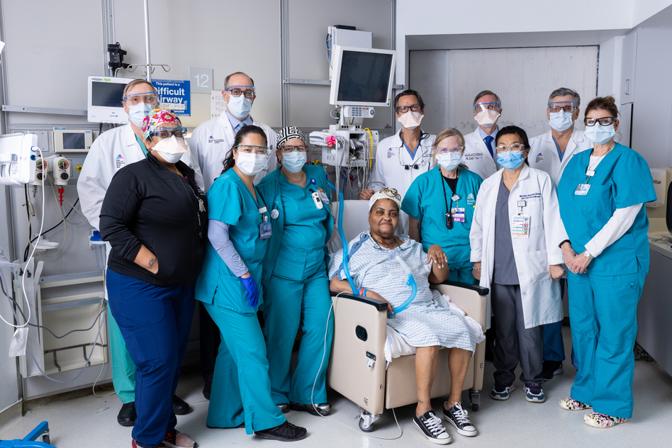 Sonia Sein with her surgeons and ICU team at The Mount Sinai Hospital. (Claudia Paul/Mount Sinai Health System)