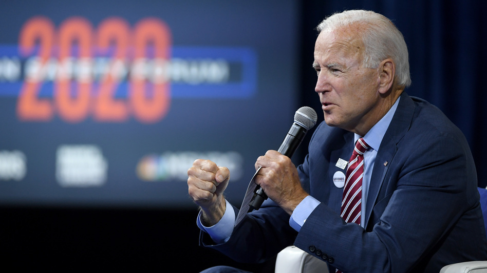 As a candidate, Joe Biden spoke at a candidate forum hosted by the gun groups Giffords and March For Our Lives. He pledged to devote $900 million to community gun violence intervention efforts in cities with high rates of gun violence. (Ethan Miller/Getty Images)
