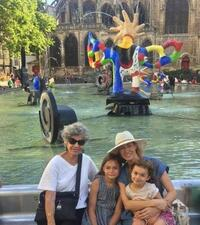 Susan Stamberg and family at the Stravinsky Fountain in Paris.