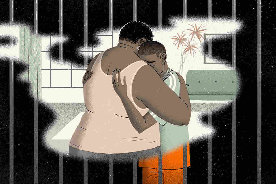 A mother and son embrace with an ominous background threatening to envelope them.