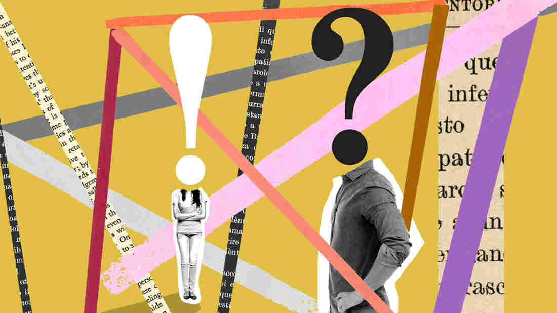 A collaged illustration against a yellow backdrop. Two figures stand in the frame. One, with arms crossed, has a head replaced by an exclamation point. On the right, a figure with hands on hips has a head replaced by a question mark. Collaged lines move behind them and over them in all directions.