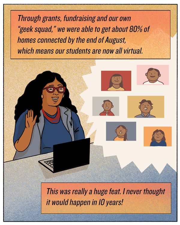"""Through grants, fundraising and our own """"geek squad,"""" we were able to get about 80% of homes connected by the end of August, which means our students are now all virtual. This was really a huge feat. I never thought it would happen in 10 years!"""