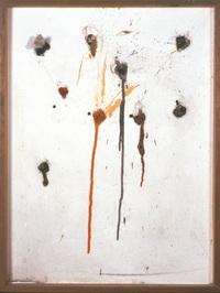 Niki de Saint Phalle, Tir neuf trous - Edition MAT, 1964, paint in plastic bags, embedded in plaster on wood