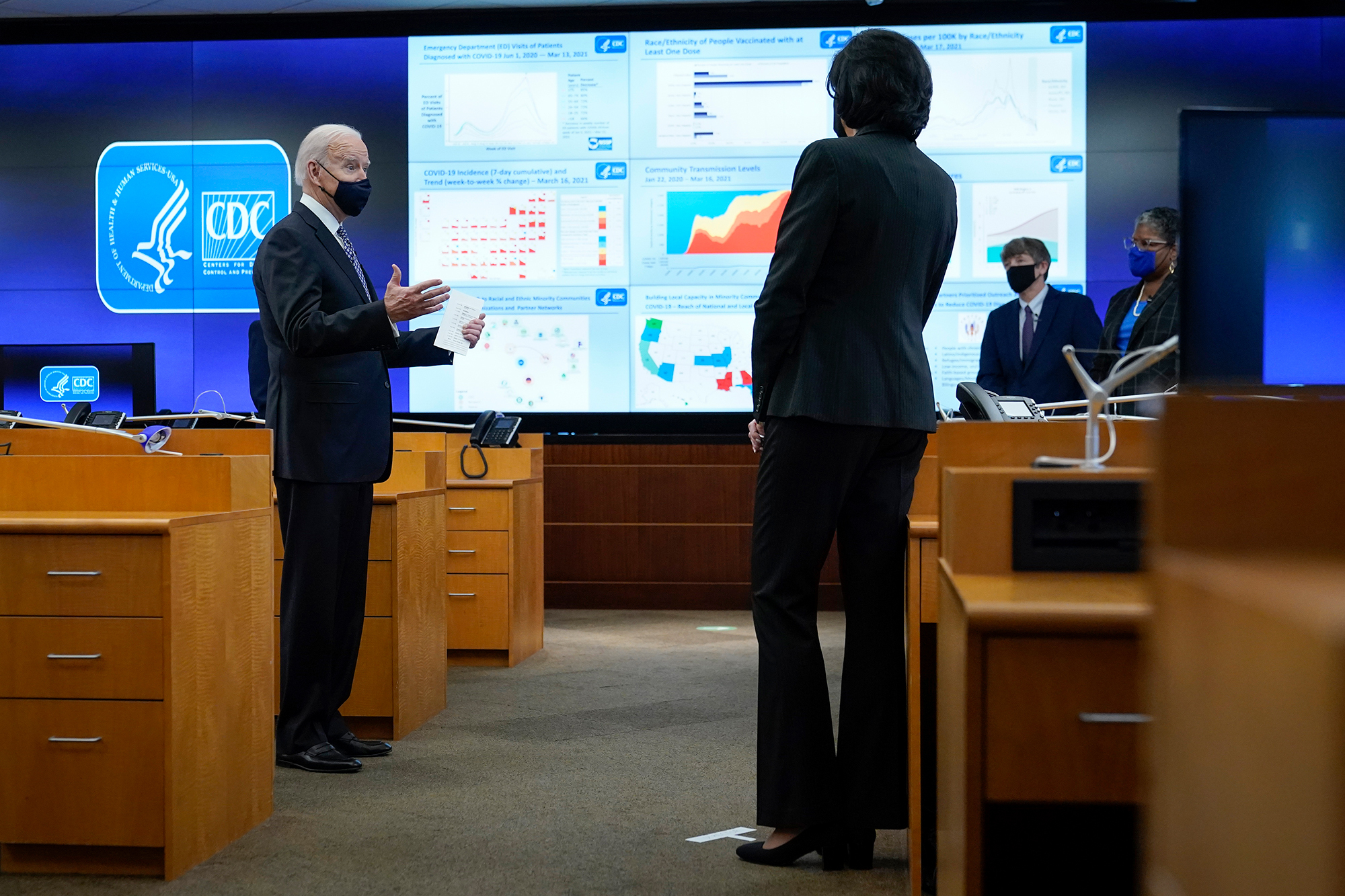 President Joe Biden speaks during a COVID-19 briefing at CDC headquarters in Atlanta, along with Dr. Rochelle Walensky. The administration has backed up public health guidance from the agency.