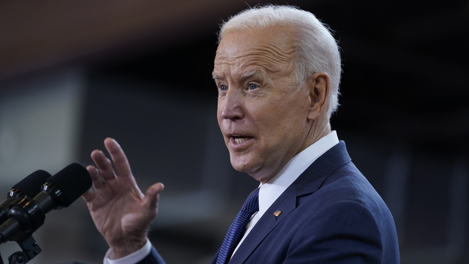 President Biden delivers a speech Wednesday unveiling his infrastructure proposal at a carpenter's training center in Pittsburgh. (Evan Vucci/AP)