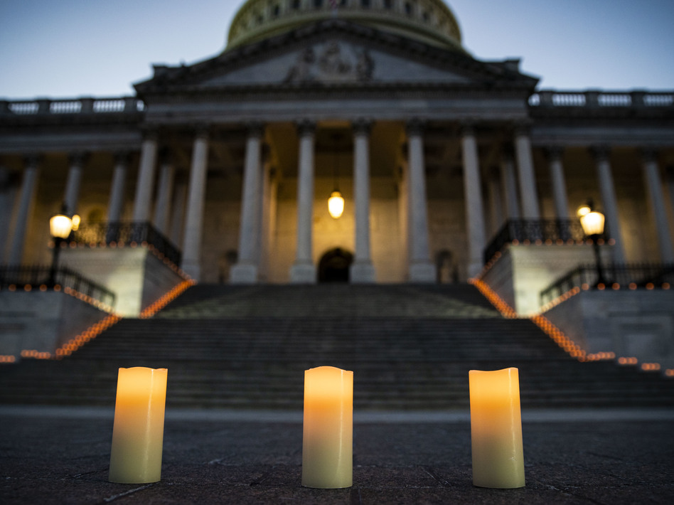 Congressional leaders held a candlelight vigil outside the U.S. Capitol in Washington, D.C. on February 23, 2021 to mark the more than 500,000 U.S. deaths due to the COVID-19 pandemic. COVID-19 was the third leading underlying cause of death in 2020, according to a study published by the Centers for Disease Control and Prevention on Wednesday. (Al Drago/Getty Images)