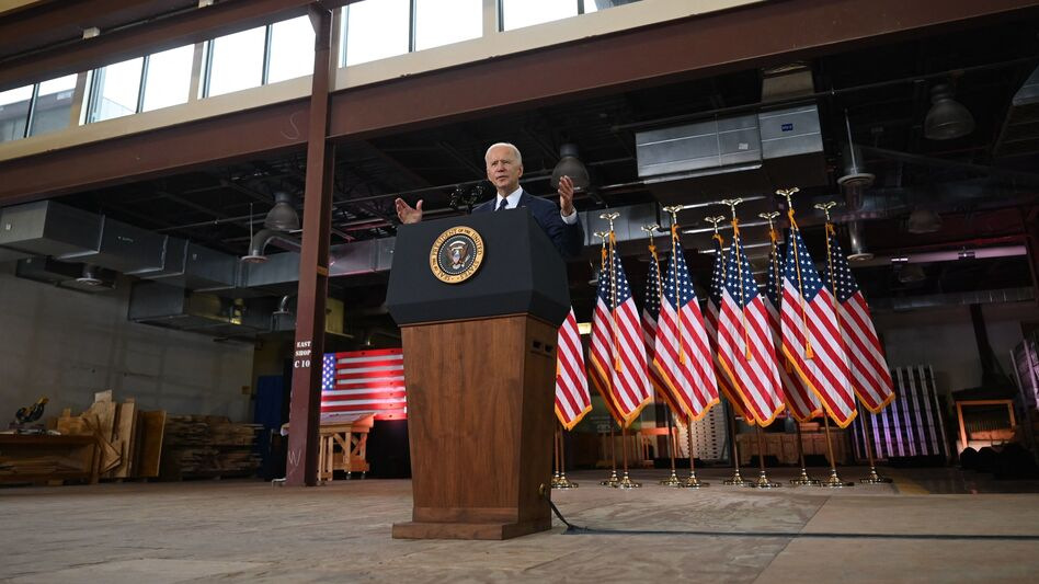 President Biden unveils his $2 trillion infrastructure measure Wednesday in Pittsburgh. (Jim Watson/AFP via Getty Images)
