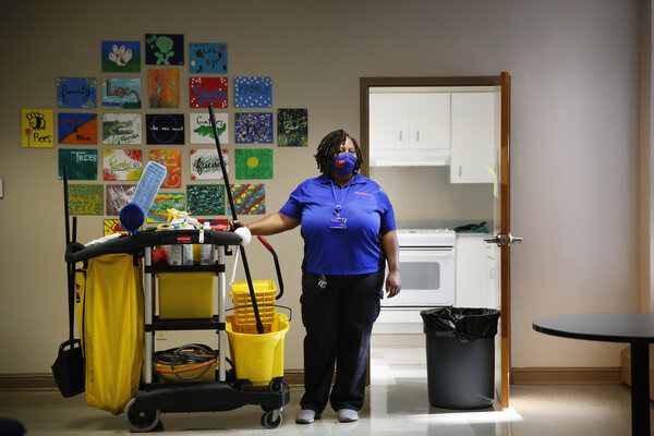 Cleaning worker at a college