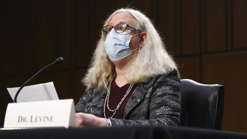 Dr. Rachel Levine during her confirmation hearing in February. In an NPR interview Thursday, Levine questions state measures limiting transgender rights. (Tom Brenner/Getty Images)