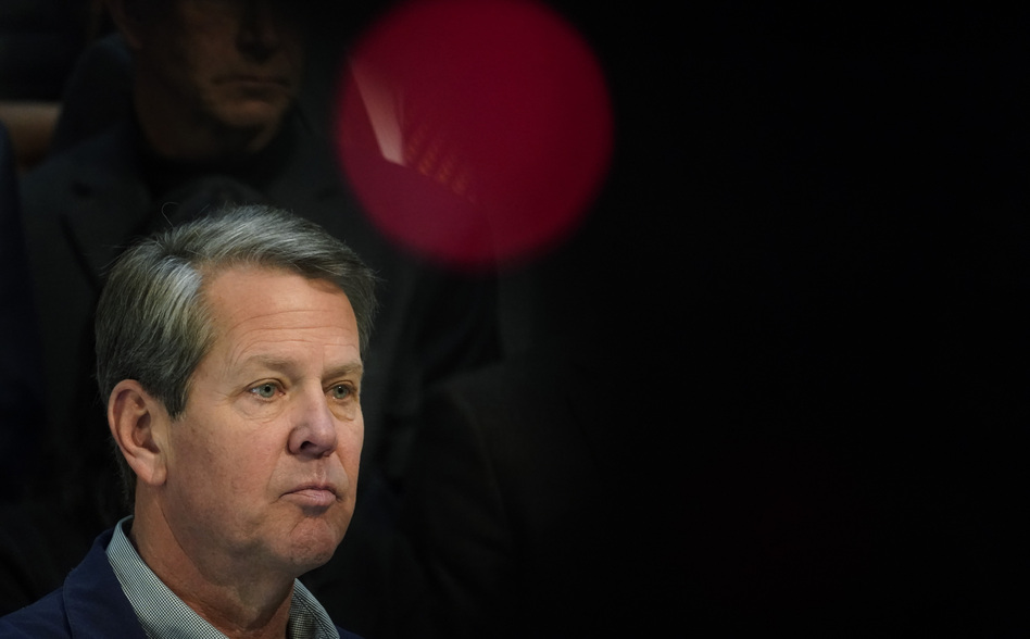 Georgia Gov. Brian Kemp, at a news conference at the state Capitol Saturday, slammed Major League Baseball's decision to pull the All-Star Game from Atlanta over the league's objection to a new voting law in the state. (Brynn Anderson/AP)