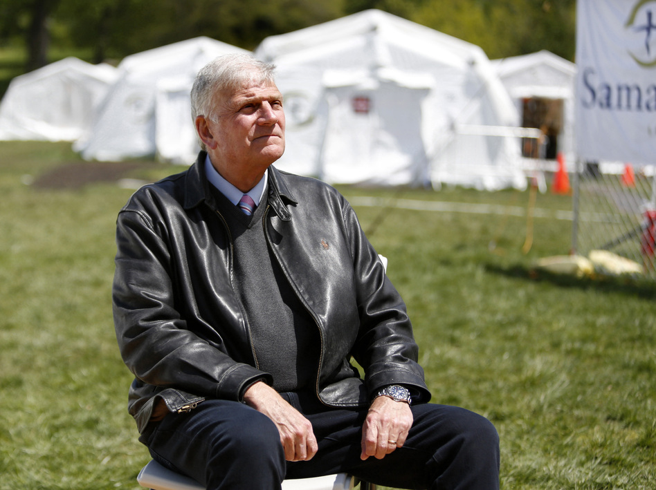 The Rev. Franklin Graham, president and CEO of Samaritan's Purse, sits for a portrait at his group's field hospital in New York's Central Park in May. Graham has spoken out in support of COVID-19 vaccines. (Jessie Wardarski/AP)