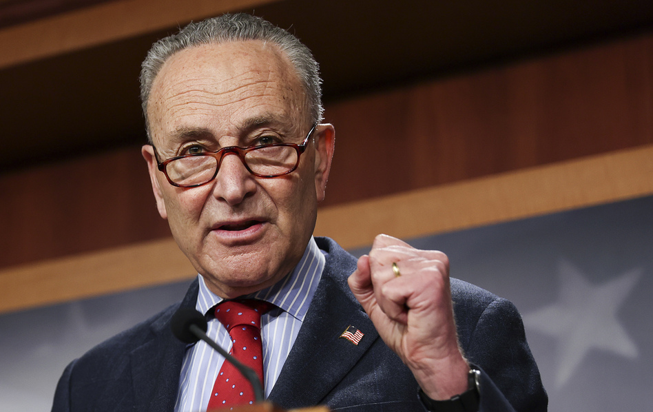 Senate Majority Leader Chuck Schumer, D-N.Y., speaks to the media on March 25. (Jonathan Ernst/Pool/Getty Images)